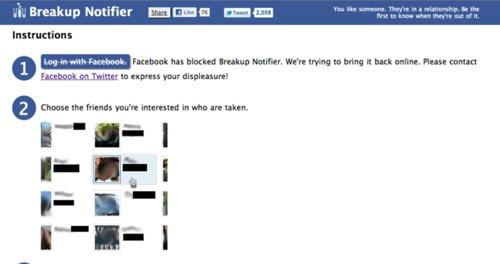 Breakup Notifier,cease and desist,facebook
