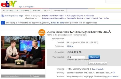 eBay Auction justin bieber Worthwhile Cause - 4492720384