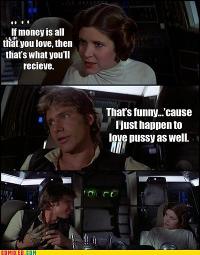 discussions,Han Solo,love,Millenium Falcon,money,Princess Leia,star wars