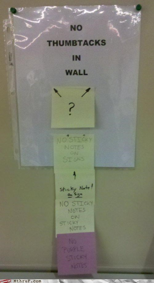 note,sign,sticky,tacks,thumb tack,wall