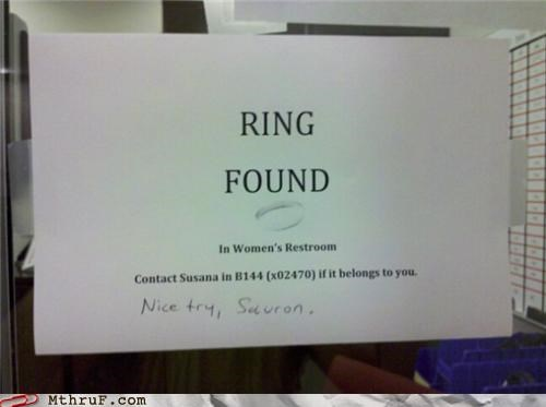 Lord of the Rings lost note ring sauron sign - 4493132800