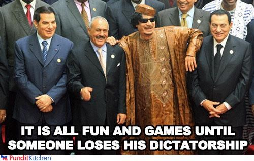 ali abdullah saleh,dictators,fun,games,middle east,muammar al-gaddafi