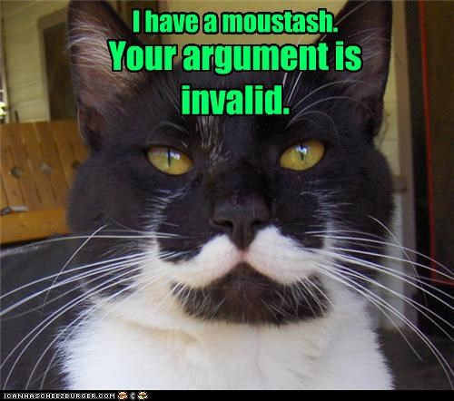 I have a moustash. Your argument is invalid.