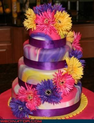 colorful cake funny wedding photos psychedelic cake wedding cake - 4494055680