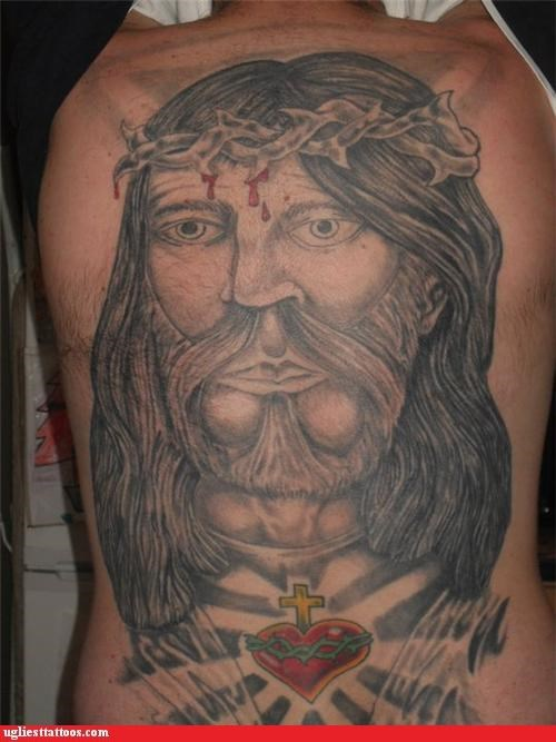 back pieces,bloodnguts,jesus christ,poor execution,portraits,religion