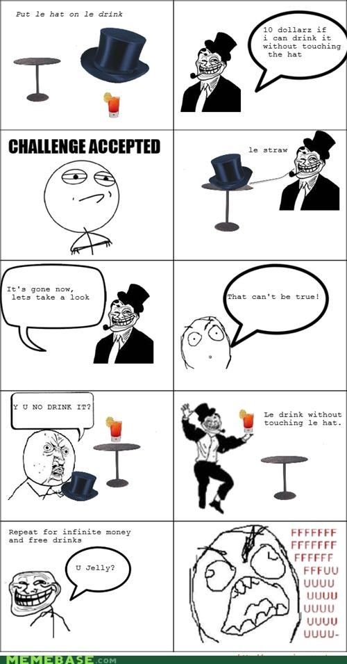 bar tricks free drinks Rage Comics troll dad troll face - 4495176960