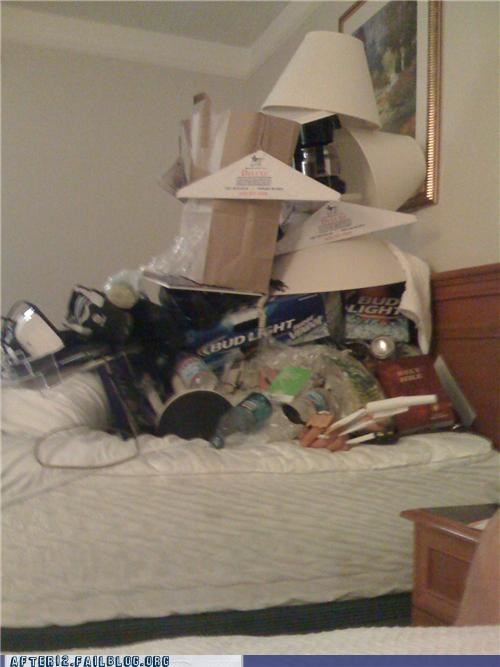 bed,beer,box,drunk,lamp,passed out,stacking