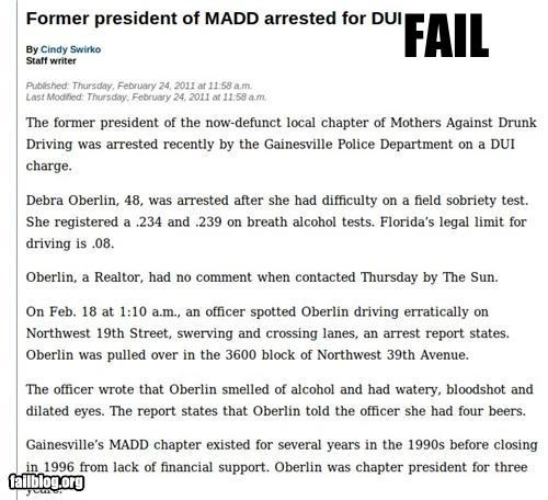 Former president of MADD arrested for DUI Article about president of Mothers Against Drunk Driving being arrested for a DUI