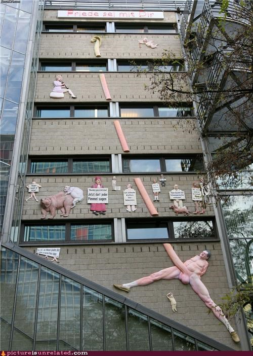 about actual size art building Germany penis wtf