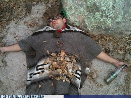 bottle,drunk,passed out,poncho