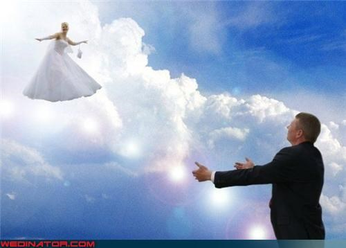 bad photoshop,flying bride,funny wedding photos,photoshop,sky wedding
