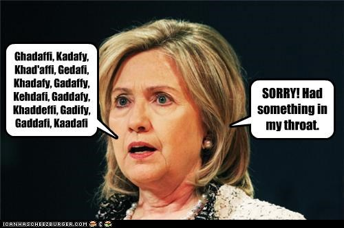 Hillary Clinton,mispronunciation,muammar al-gaddafi,names,secretary of state