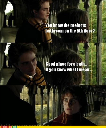 bath,cedric diggory,gay jokes,Harry Potter