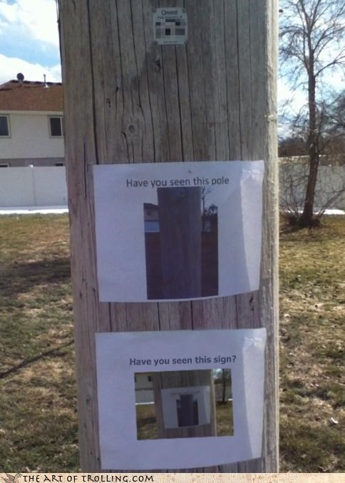 IRL lost and found meta pole post puns