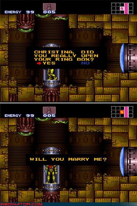 funny wedding photos,Metroid,proposal,samus aran,super metroid,video game proposal
