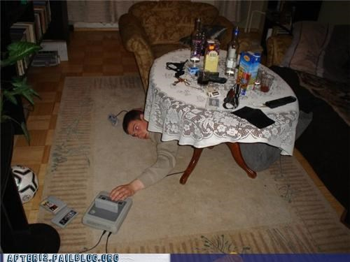 drunk,floor,nintendo,passed out,Super Nintendo,video games