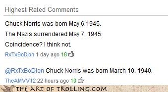 birth,chuck norris,nazis,surrender,wait how is this a troll oh well you guys loved it on that vote page,world war 2,youtube
