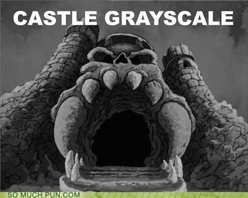 castle,color,grayscale,grayskull,he man,similar sounding,the masters of the universe,uniformity