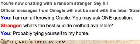 Funny picture of a screen grab from Omegle of a stranger that takes his title of All Knowing Oracle, very seriously.