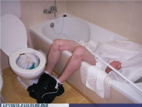 curtain drunk fall gross passed out shower toilet - 4499713792