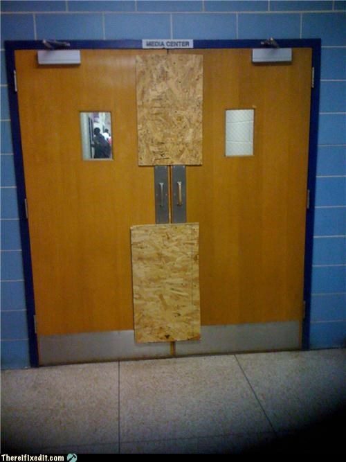 bad puns,locked up,plywood,school