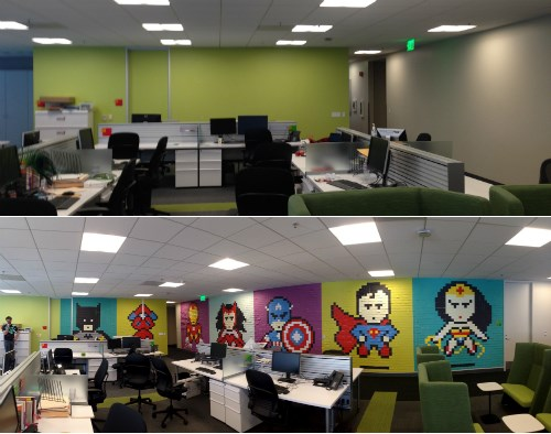 post-it notes mural awesome superheroes - 450053