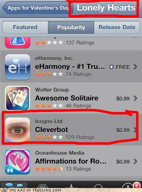 apps,Cleverbot,forever alone,Valentines day