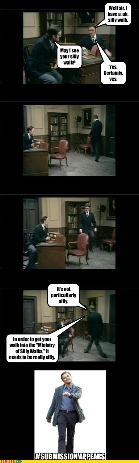 leonardo dicaprio ministry of silly walks monty python silly - 4500880128