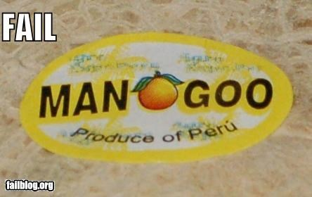 "Fruit Marketing Fail Fruit sticker fail. Rhyming with ""Peru"" isn't enough to make it a good slogan."