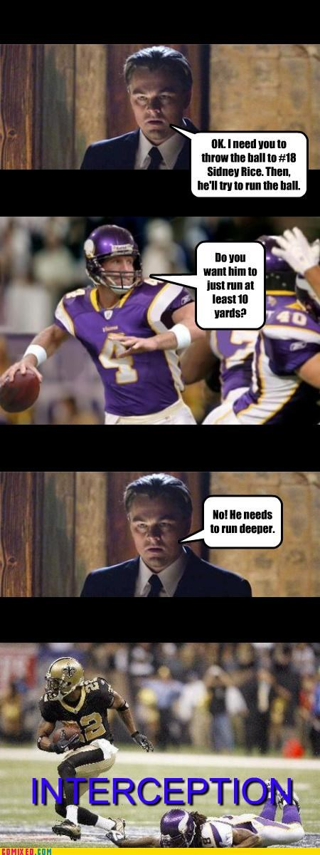 football,Inception,interception,leonardo dicaprio,puns,sports