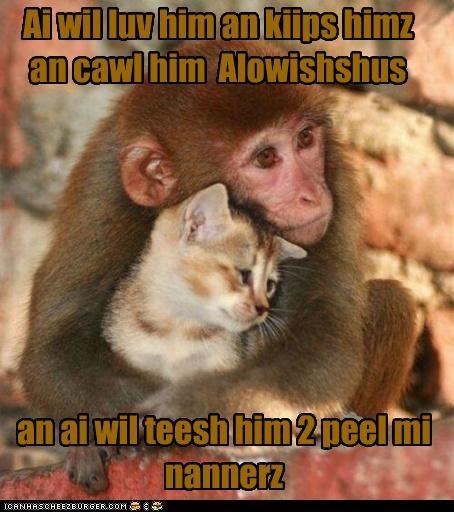 Ai wil luv him an kiips himz an cawl him Alowishshus an ai wil teesh him 2 peel mi nannerz