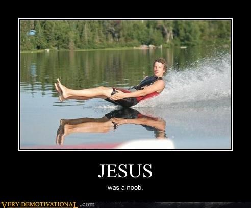 dont-care,jesus,skiing,walking on water