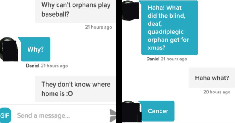 Two people have an amazingly dark humored conversation on the Tinder dating app.