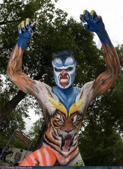 body paint,eagle,paint,tiger,weird,wtf