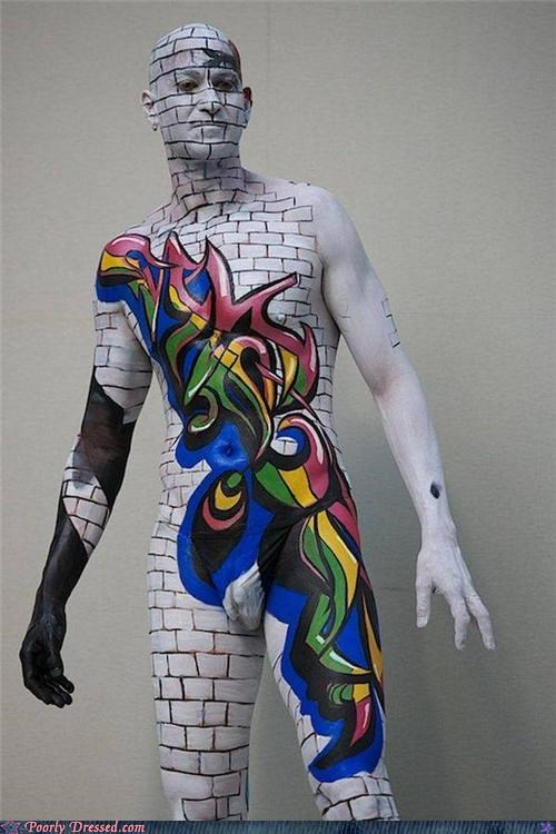body paint graffiti pink floyd wall wtf