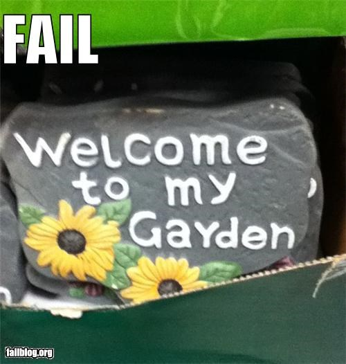 classic failboat garden g rated oops signs spelling - 4506427136