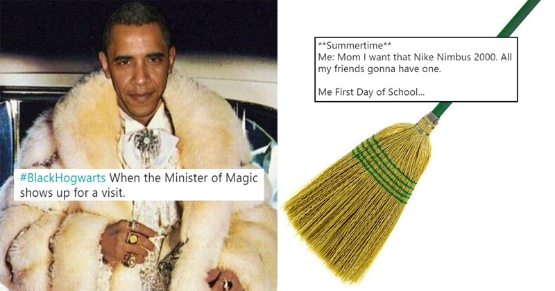 Funny Twitter meme #blackhogwarts, harry potter, black culture, biggie, tupac, obama, hogwarts, wizardry, wizard, quidditch.