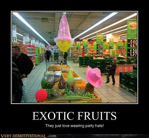 exotic,fruit,grocery store,party hats
