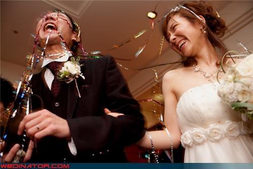 funny wedding photos happy groom tinsel