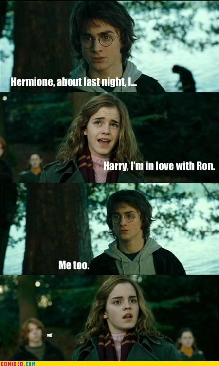 gay jokes,Harry Potter,hermione,love,Ron Weasley