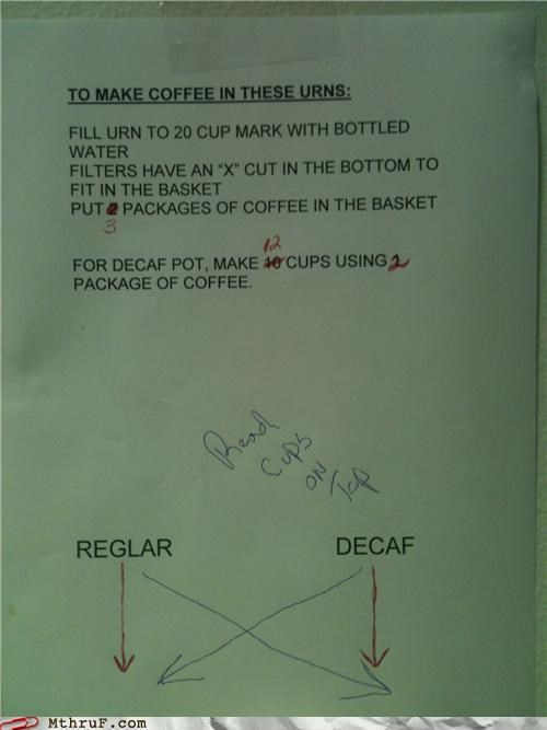 coffee,confusion,decaf,note,urn