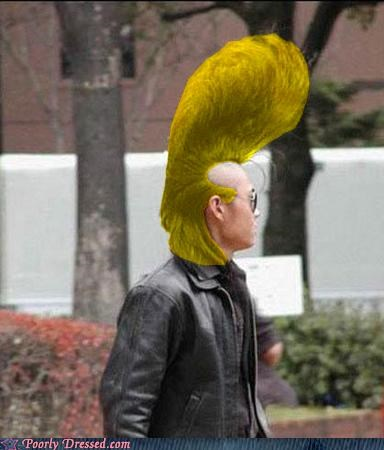 asian,blonde,hair,johnny bravo,photoshop