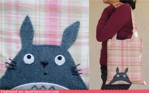 applique bag felt plaid tote totoro - 4508459776