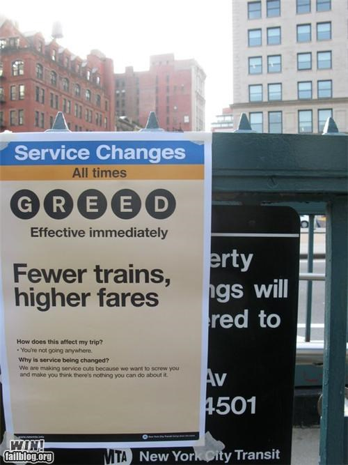 clever disobedience new york nyc signs Subway taxes