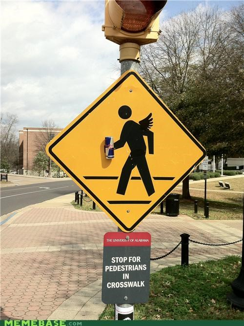 crosswalk,gives you wings,redbull,The Internet IRL,university of alabama