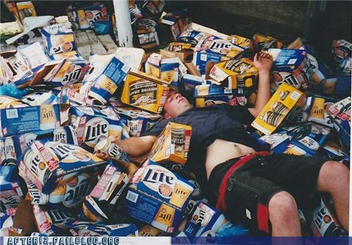 beer,box,cardboard,drunk,miller lite,passed out