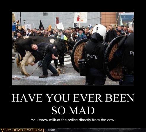 HAVE YOU EVER BEEN SO MAD You threw milk at the police directly from the cow.