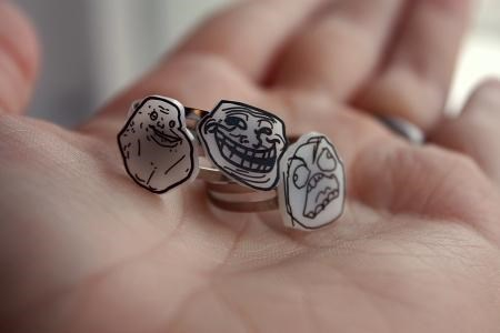 forever alone,meme,Memetic Jewelry,rage guy,trollface