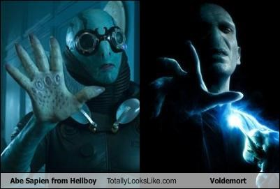 abe sapien,Harry Potter,hellboy,Lord Voldemort