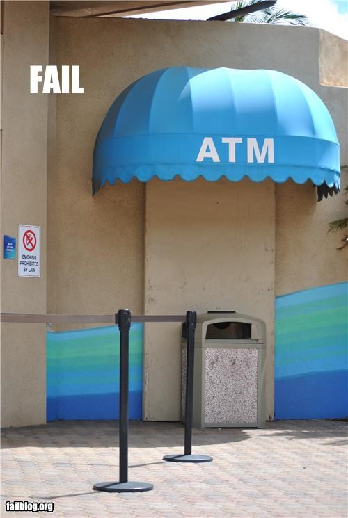 ATM,failboat,g rated,signs,trash can